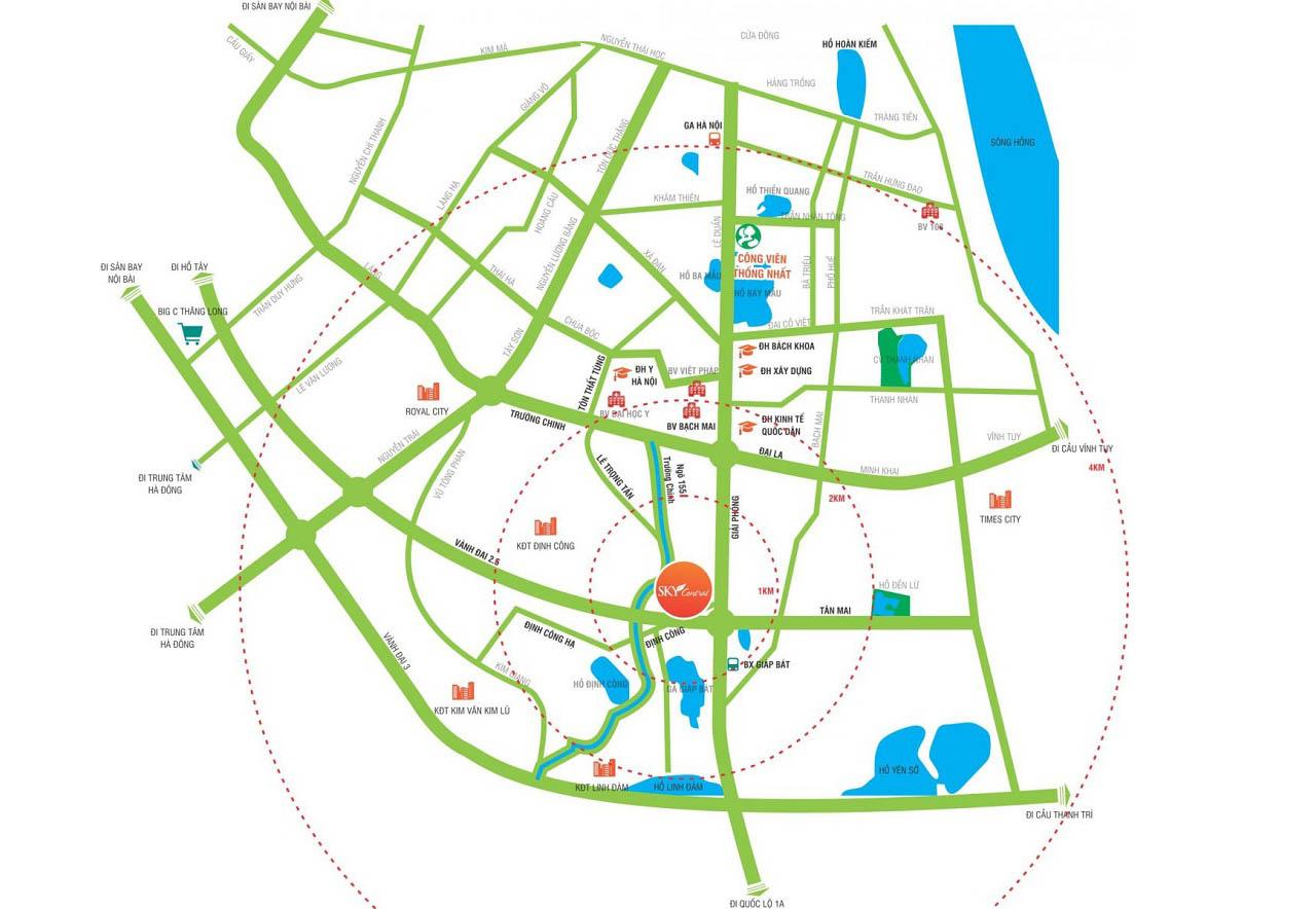 Vị trí chung cư Sky Central 176 Định Công