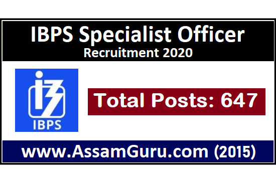 Job in IBPS Specialist Officer Recruitment 2020