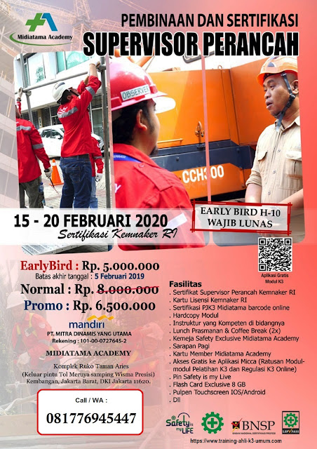 Supervisor K3 Perancah tgl.15-20 Februari 2020 di Jakarta