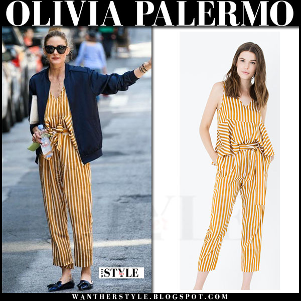 Olivia Palermo in yellow striped top and matching pants max and co and blue bomber what she wore streetstyle