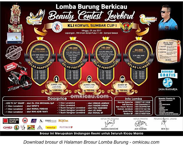 Brosur Lomba Burung Berkicau dan Beauty Contest Love Bird KLI Korwil Sumbar Cup I, Padang, 9 Juli 2017