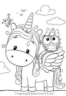 Colorear unicornio y buho