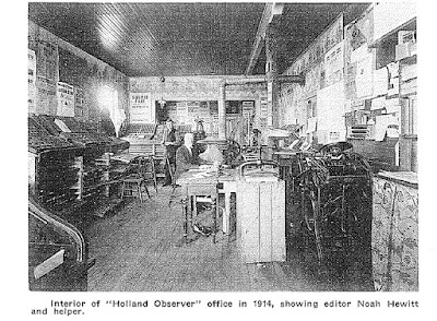 Photo of interior of Holland Observer, 1914