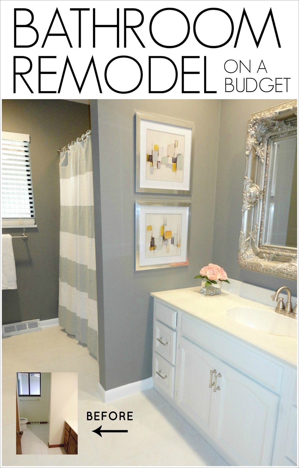Livelovediy diy bathroom remodel on a budget for Simple cheap bathroom designs