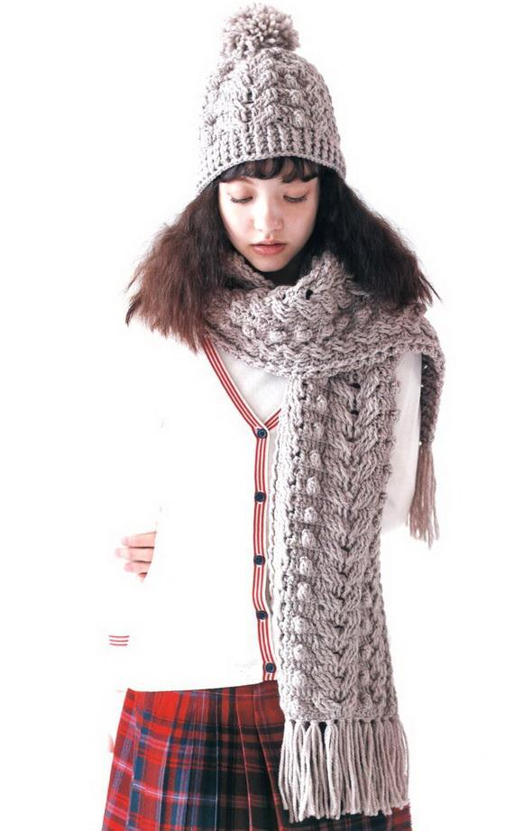 Crochet Cables Hat And Scarf Set,  Quick And Easy,  Stylish for women in winter