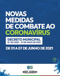 Decreto Municipal: Prefeitura de Bom Jardim divulga novas medidas de combate ao Coronavírus válidas de 01 a 7 junho