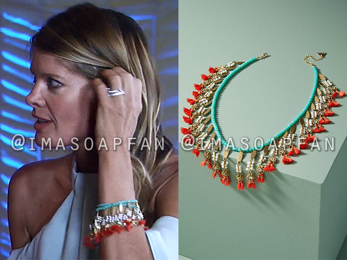 Nina Reeves, Michelle Stafford, Coral and Turquoise Blue Beaded Fringe Bracelet, General Hospital, GH