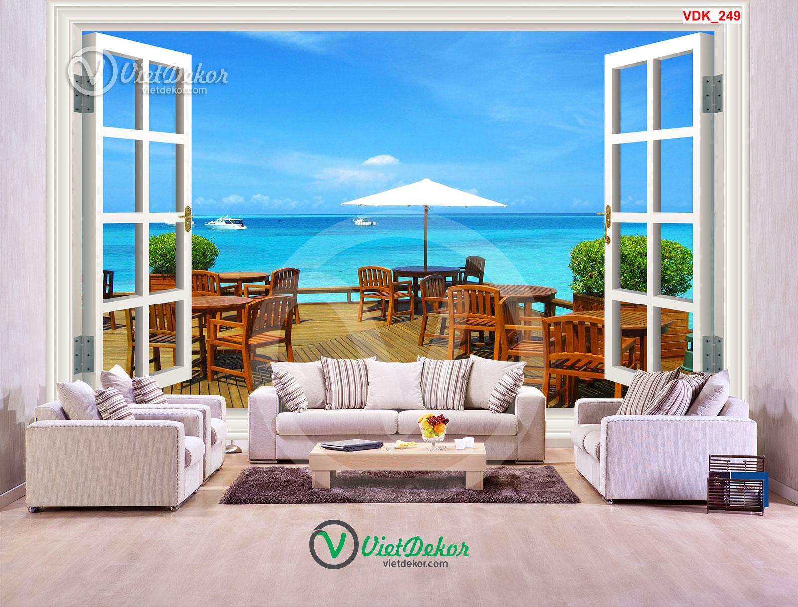 Tranh 3d dán tường cửa phòng khách đẹp