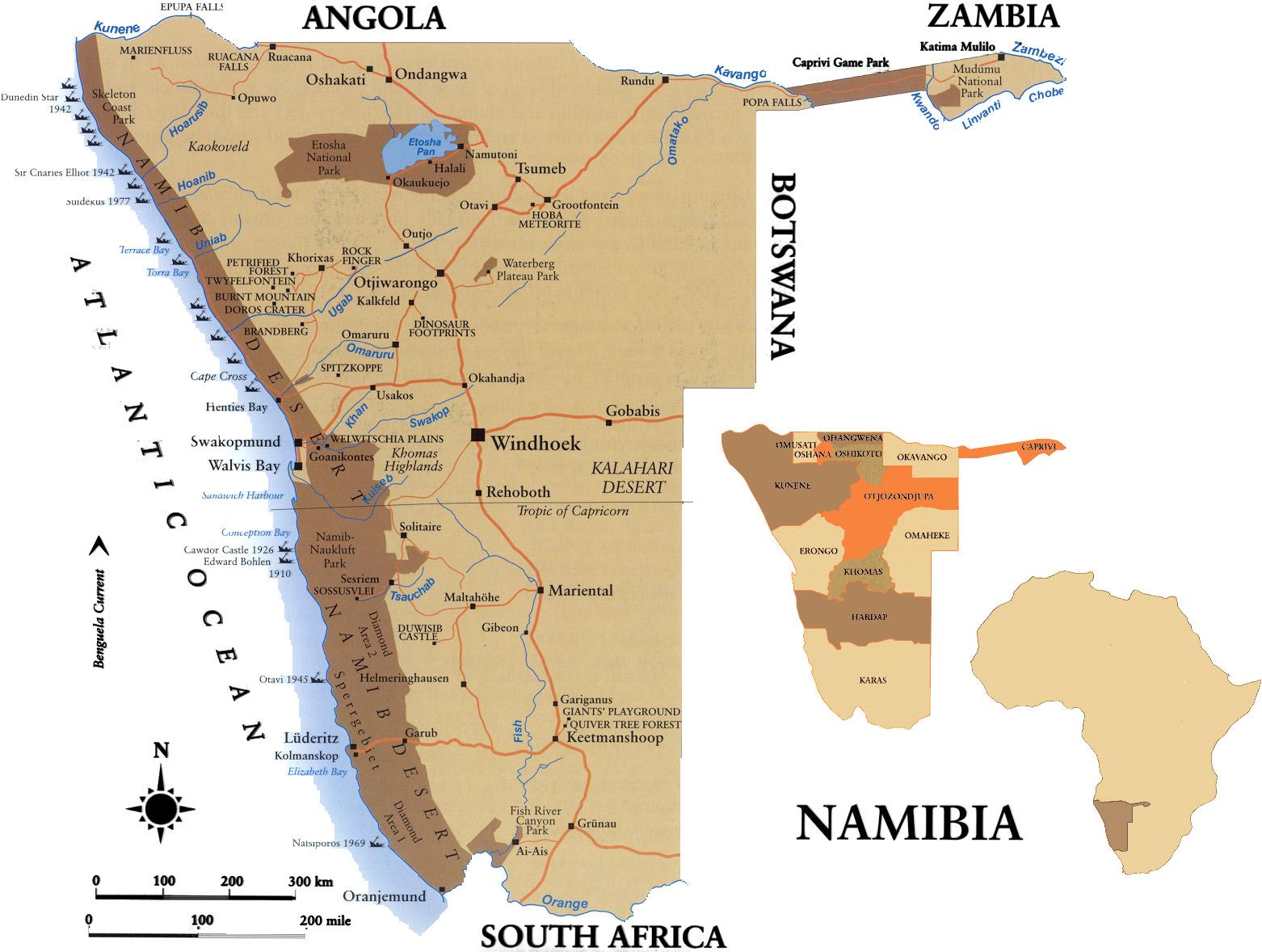 Namíbia | Mapas Geográficos da Namíbia