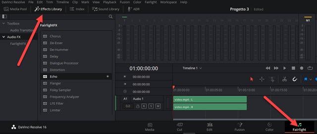 effetti audio per i video con fairlight