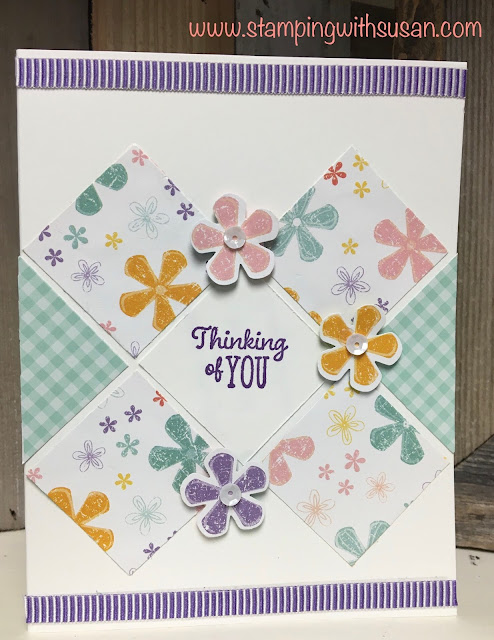 Stampin' Up!, Pleased as Punch, Thoughtful Blooms, Small Bloom Punch, www.stampingwithsusan.com, Tile Card Technique