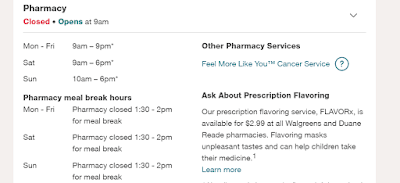 Walgreens Pharmacy Hours of Operations