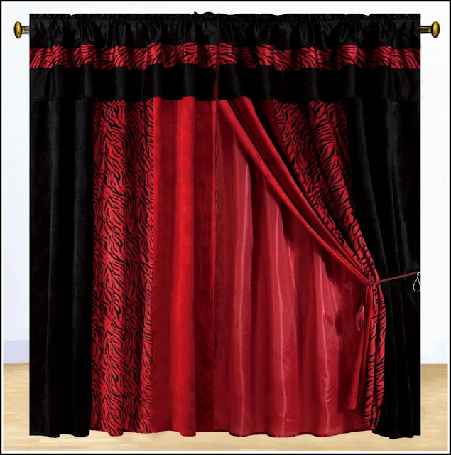 zebra print black and red curtains with valances