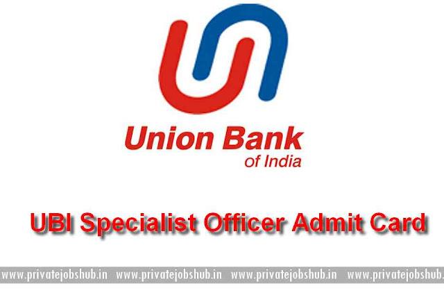 UBI Specialist Officer Admit Card