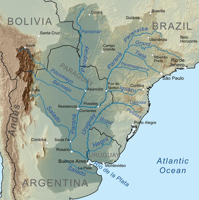 Rio de la Plata river map