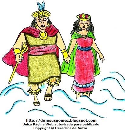 Dibujo de Manco Cápac y Mama Ocllo pintado a colores  (Manco Cápac y Mama Ocllo pasando por el Lago Titicaca). Dibujo de Manco Cápac y Mama Ocllo hecho por Jesus Gómez
