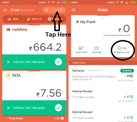Get free Rs.20 instantly + Unlimited recharge with True Balance app