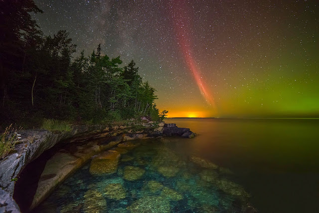 Proton Arc and Aurora over Lake Superior