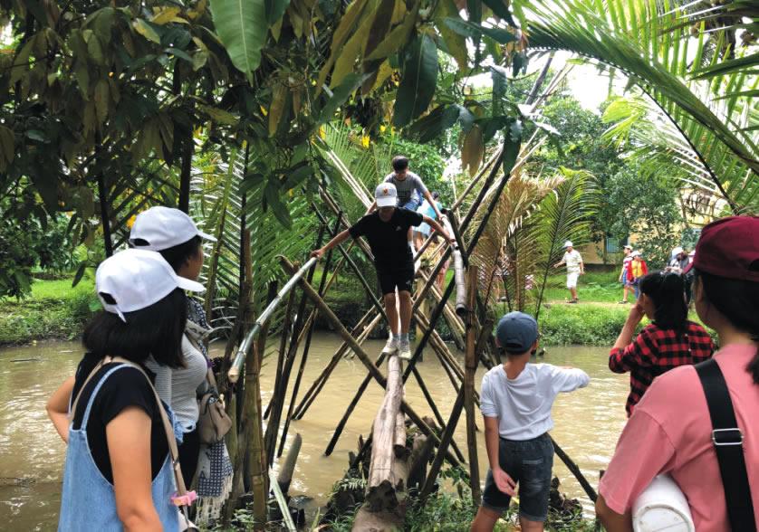Đi cầu khỉ tham quan vườn trái cây