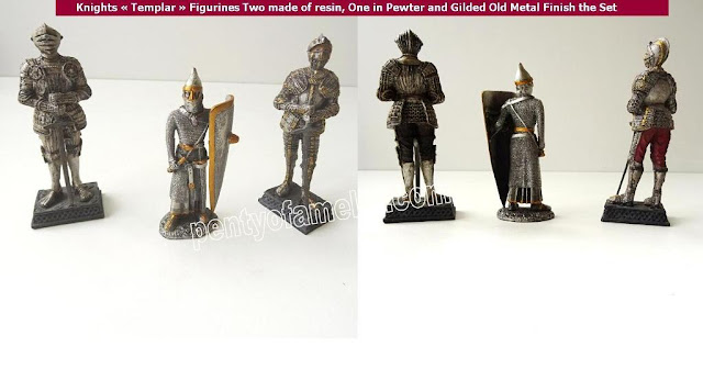 """Knights""""Templar""""Figurines which Two made of resin, One in Pewter and Gilded Old Metal Finish the Set"""