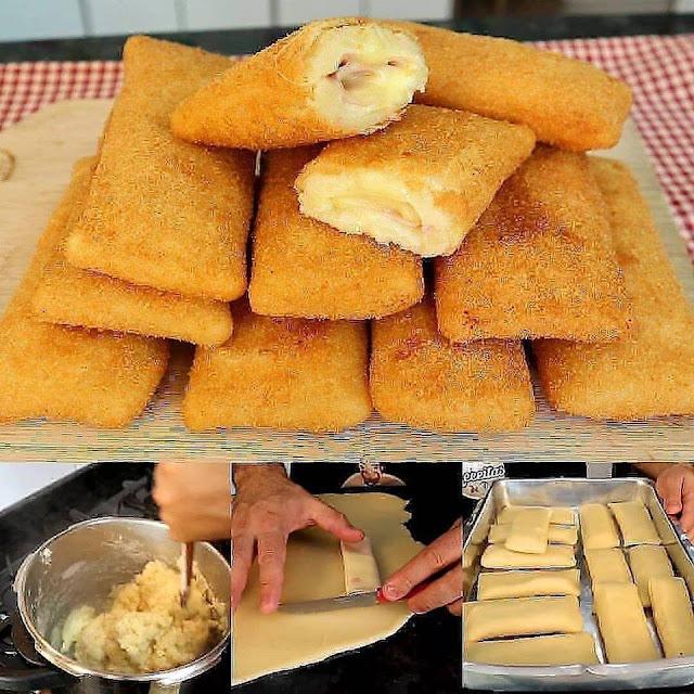 Cigarrete de presunto e queijo delicioso