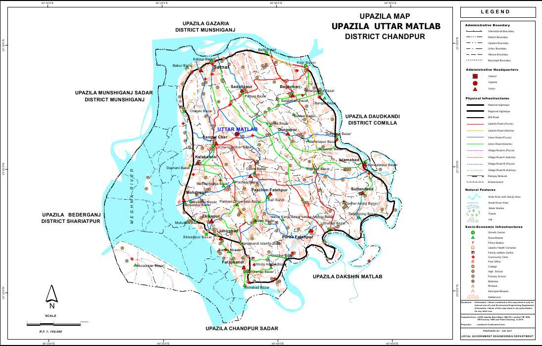 Matlab (Uttar) Upazila Map Chandpur District Bangladesh