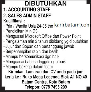 Lowongan Kerja Accounting Staff Mega Legenda Batam