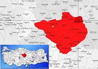 Kadışehri ilçesinin nerede olduğunu gösteren harita.
