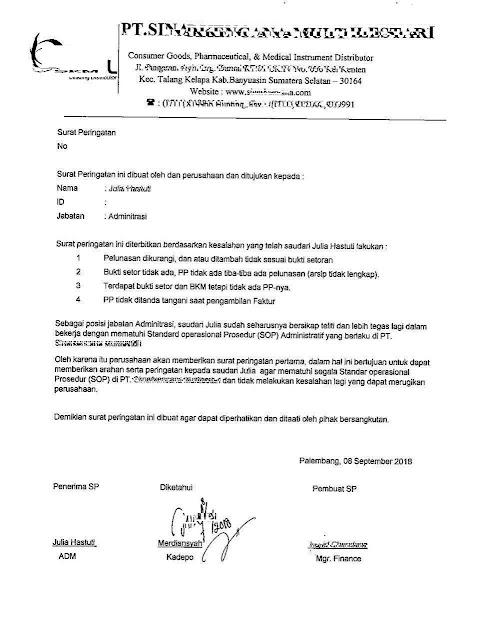 surat pemberian sanksi pelanggaran