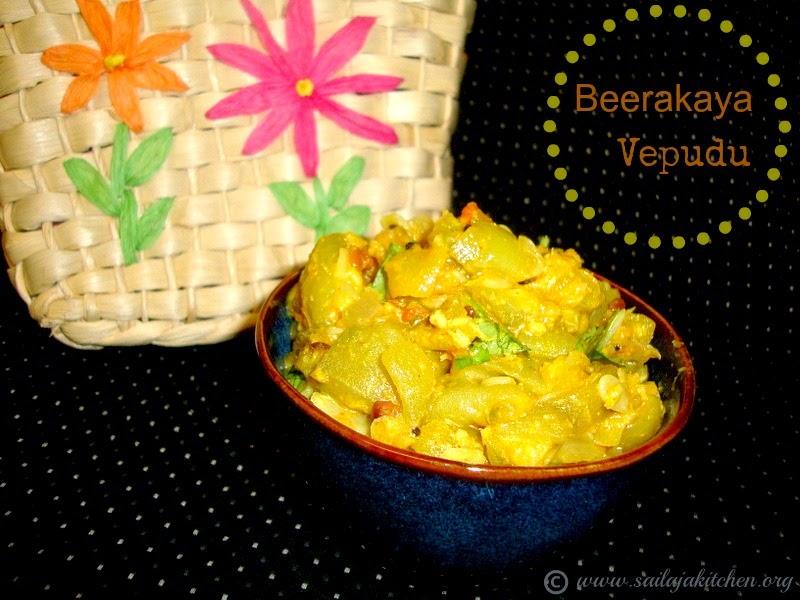 Images for Beerakaya Fry Recipe / Beerakaya Nuvvu Koora Recipe / Ridge Gourd Sesame Stir Fry / Beerakaya Vepudu / Peerkangai Fry