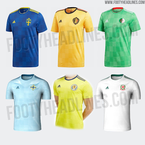 0ea744d2c ... for the away kits of Algeria, Belgium, Northern Ireland Scotland,  Sweden and Wales, the Iran 2018 World Cup away kit is red and white with a  sublimated ...