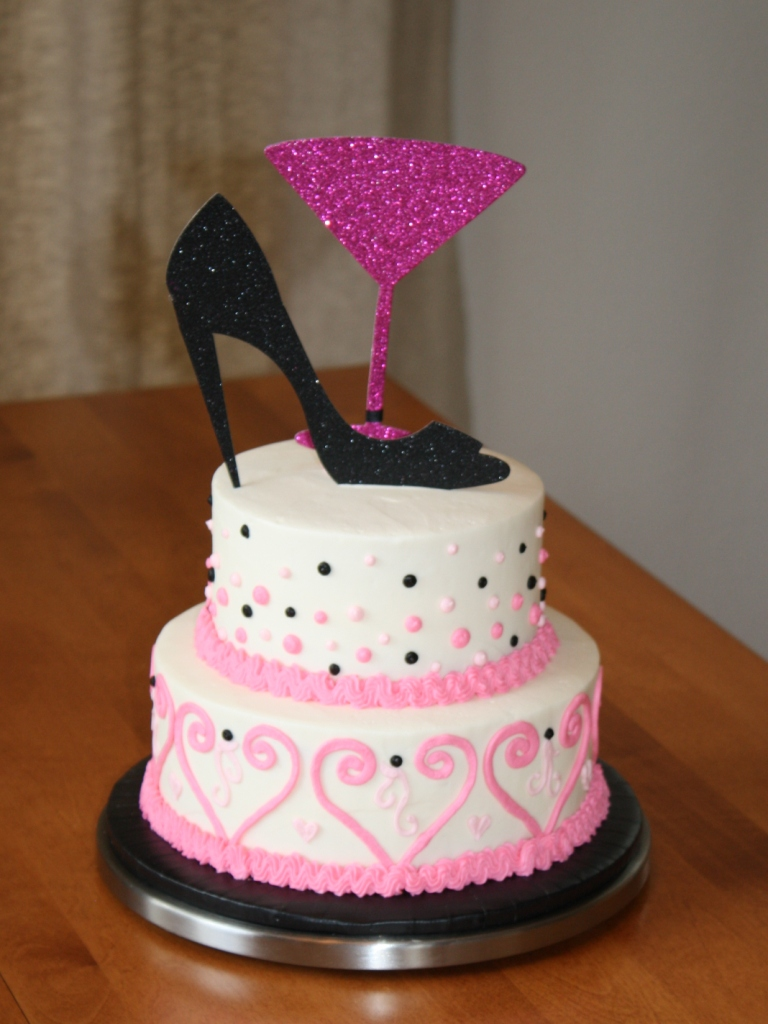Pink And Black Bridal Shower Cake