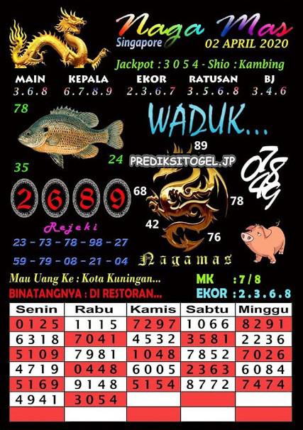 Prediksi SGP Hari Ini Kamis 02 April 2020 - Syair Nagamas SGP
