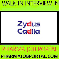 Zydus Cadila Healthcare Limited Walk In Interview For Multiple Positions at 21 October - Apply Now
