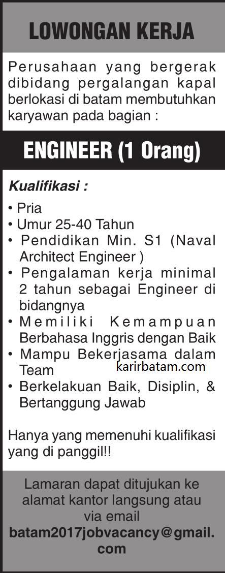 Lowongan Kerja Engineer Lulusan S1