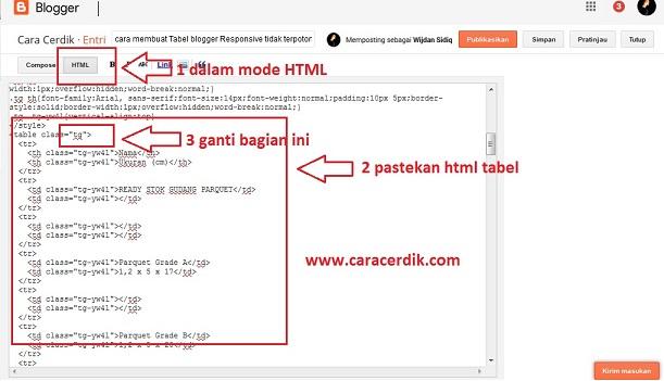 cara membuat Tabel blogger Responsive tidak terpotong pada Mode Mobile seluler
