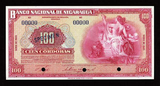 Nicaragua banknotes money currency 100 Cordobas banknote billete