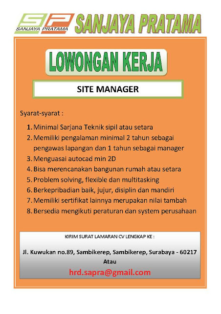lowongan kerja site manager sanjaya pratama