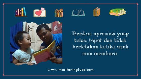 berikan apresiasi kepada anak saat mau membaca