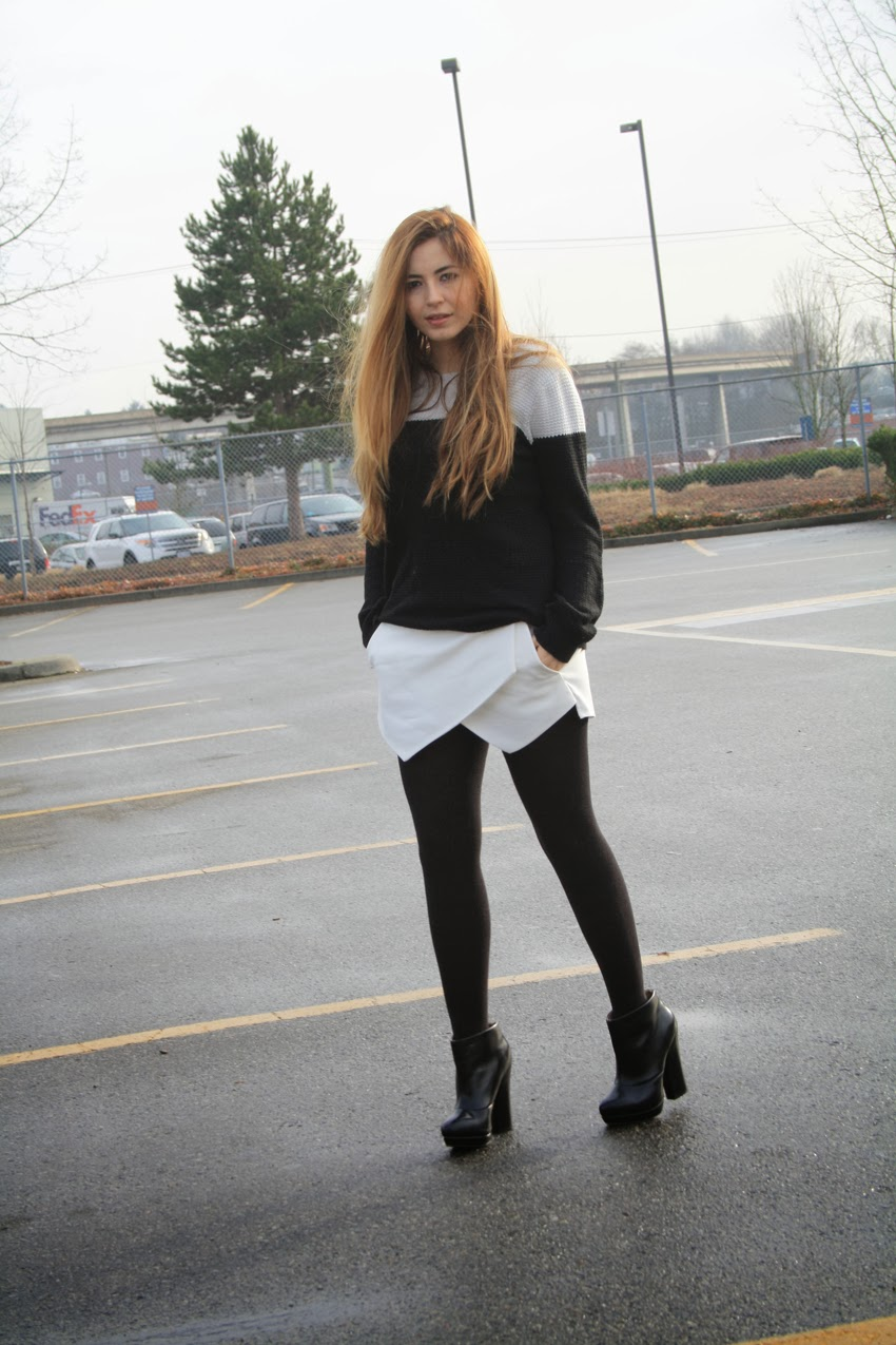 pandaphilia: Rocker Chic | Origami Skort + Denim Vest + Black Lace | 1275x850