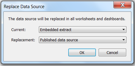 Using embedded extracts to edit published data sources on