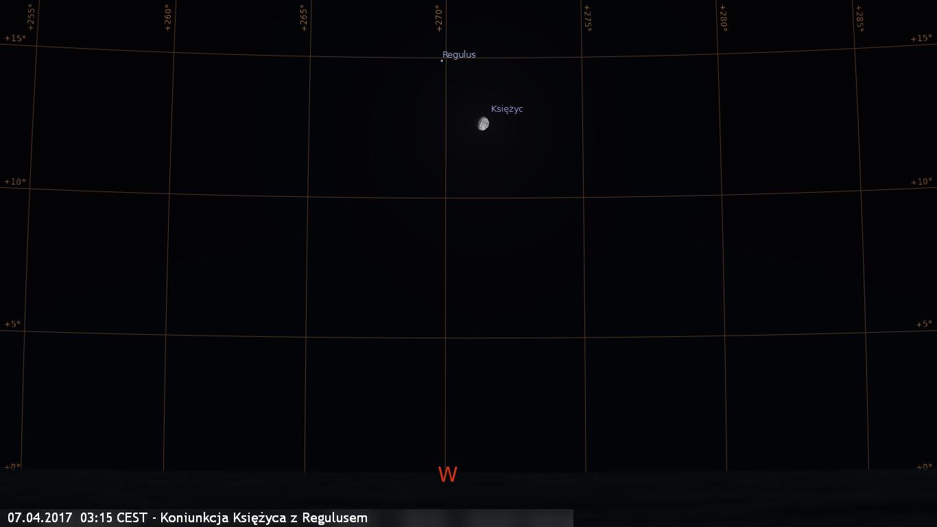 07.04.2017  03:15 CEST - Koniunkcja Księżyca z Regulusem