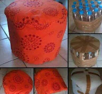 Asientos y puffs con materiales plásticos reciclados