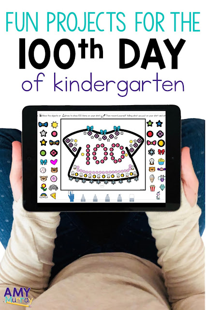 kid hands holding an Ipad with a picture of a 100th day tshirt on it