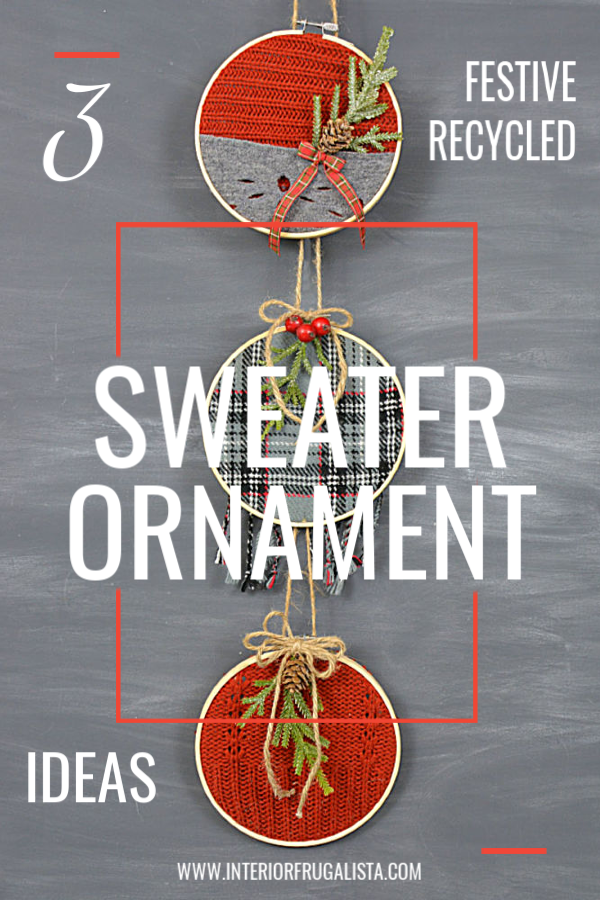 3 Unique Festive Recycled Sweater Ornaments