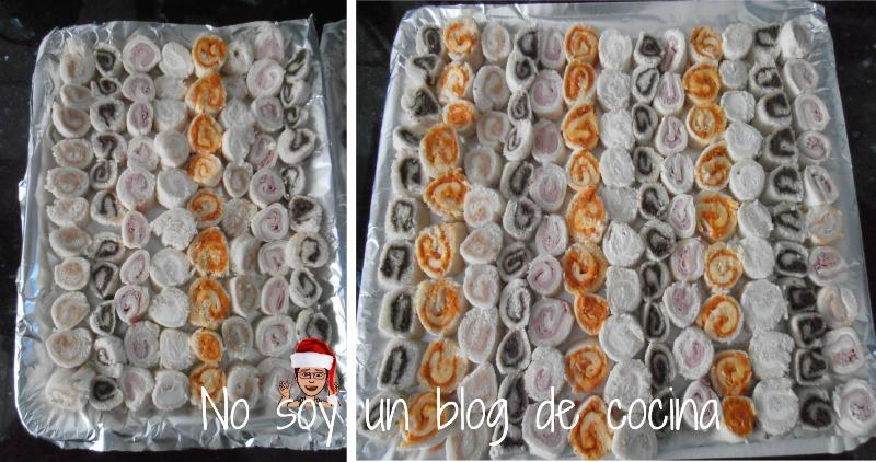 Canapés hechos de pan de molde