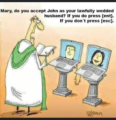 Mary, do you accept John as your lawfully wedded husband? If you do press enter,. If you don't press escape.