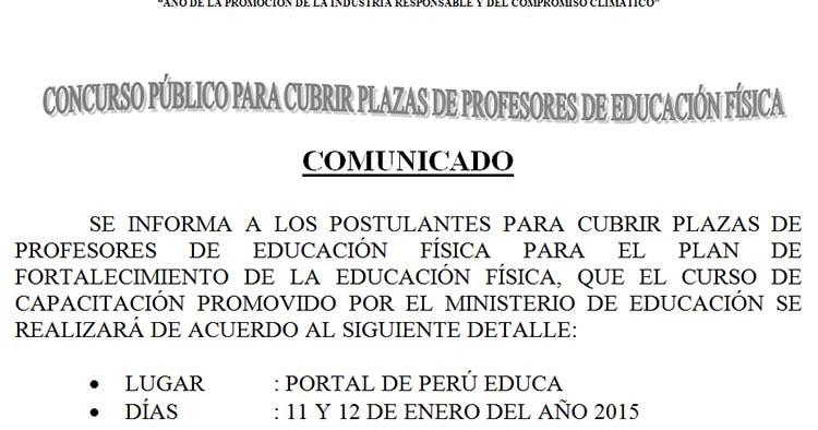 Capacitaci n per educa concurso p blico para cubrir for Ministerio de educacion plazas