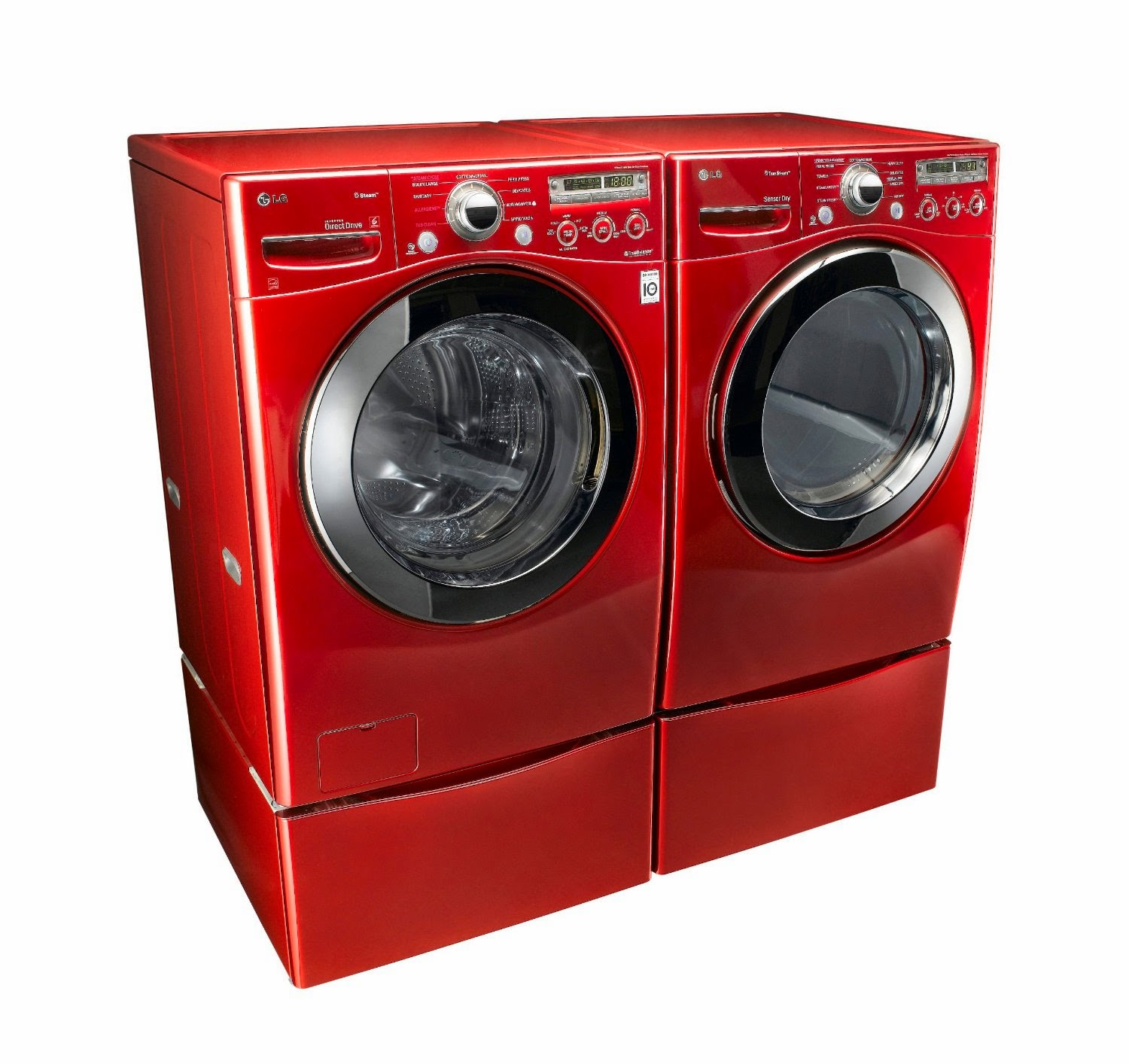 lg steam laundry pair with pedestals and dryer