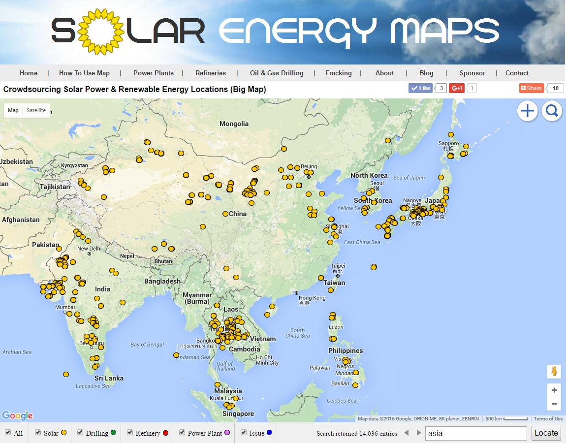 Asia Solar Map Solar Farms Solar Parking Lots
